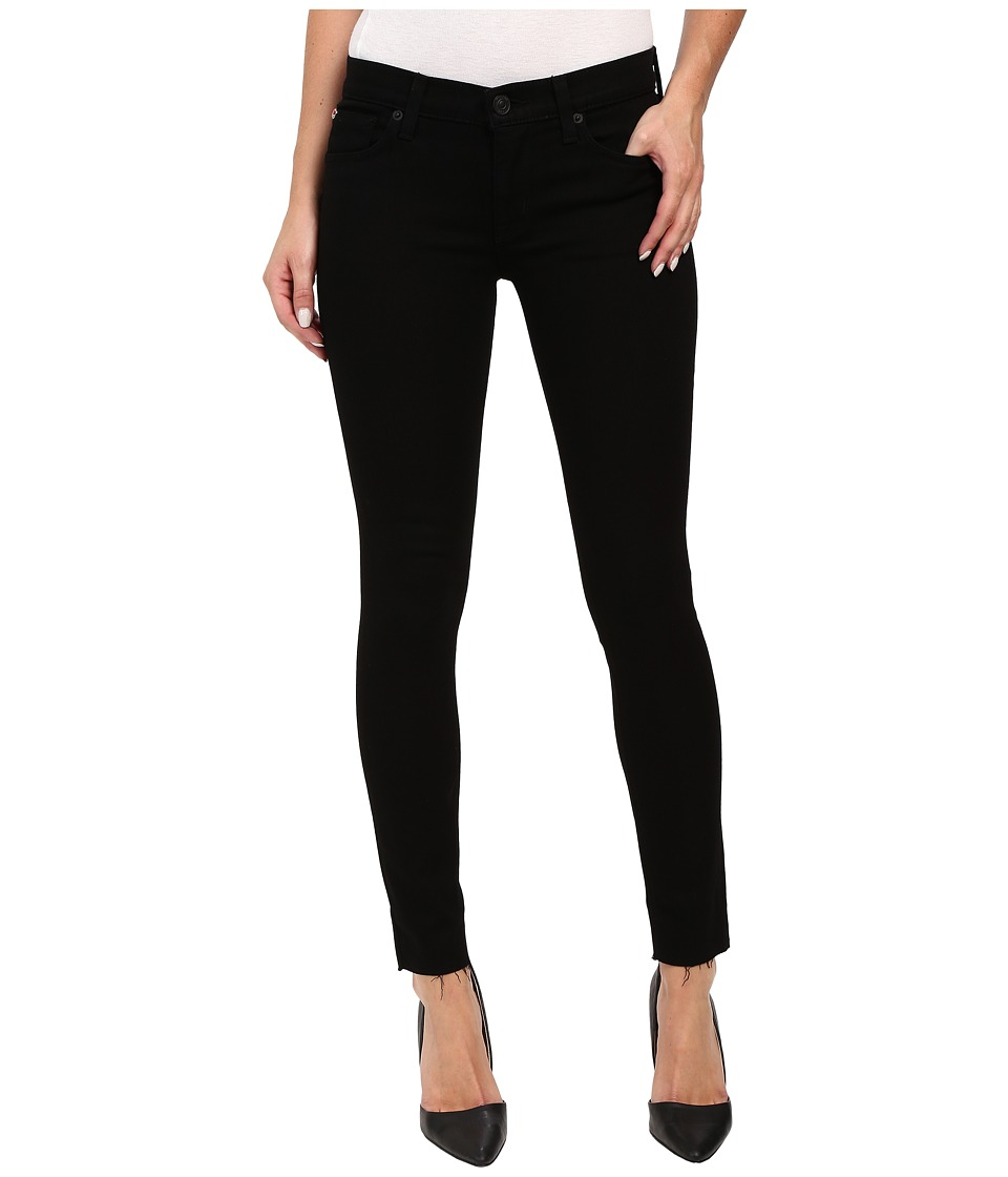 Hudson Krista Super Skinny with Raw Hem in Black in Raven (Raven) Women
