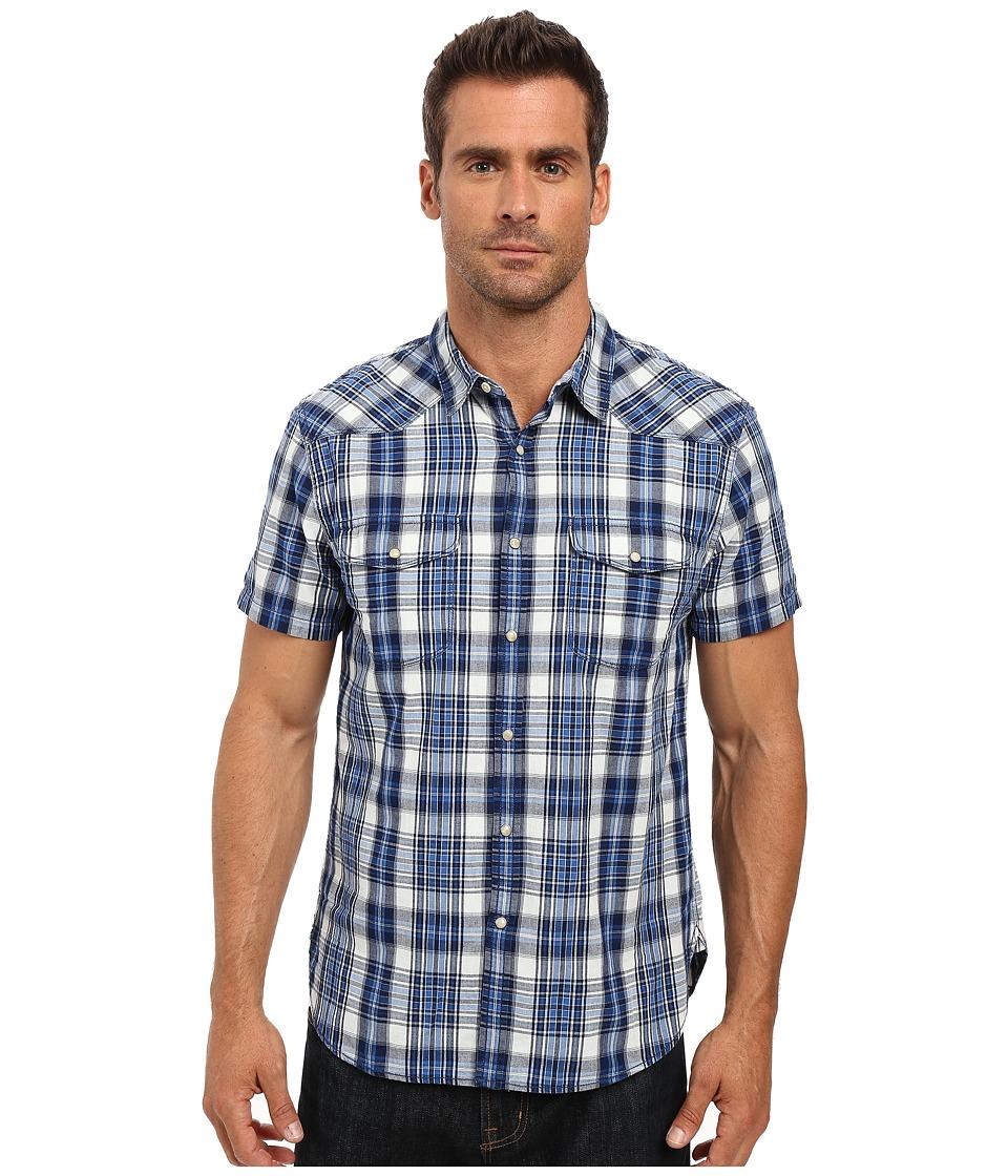 Lucky Brand - Short Sleeve Santa Fe Western Shirt (Indigo Plaid) Men's Clothing