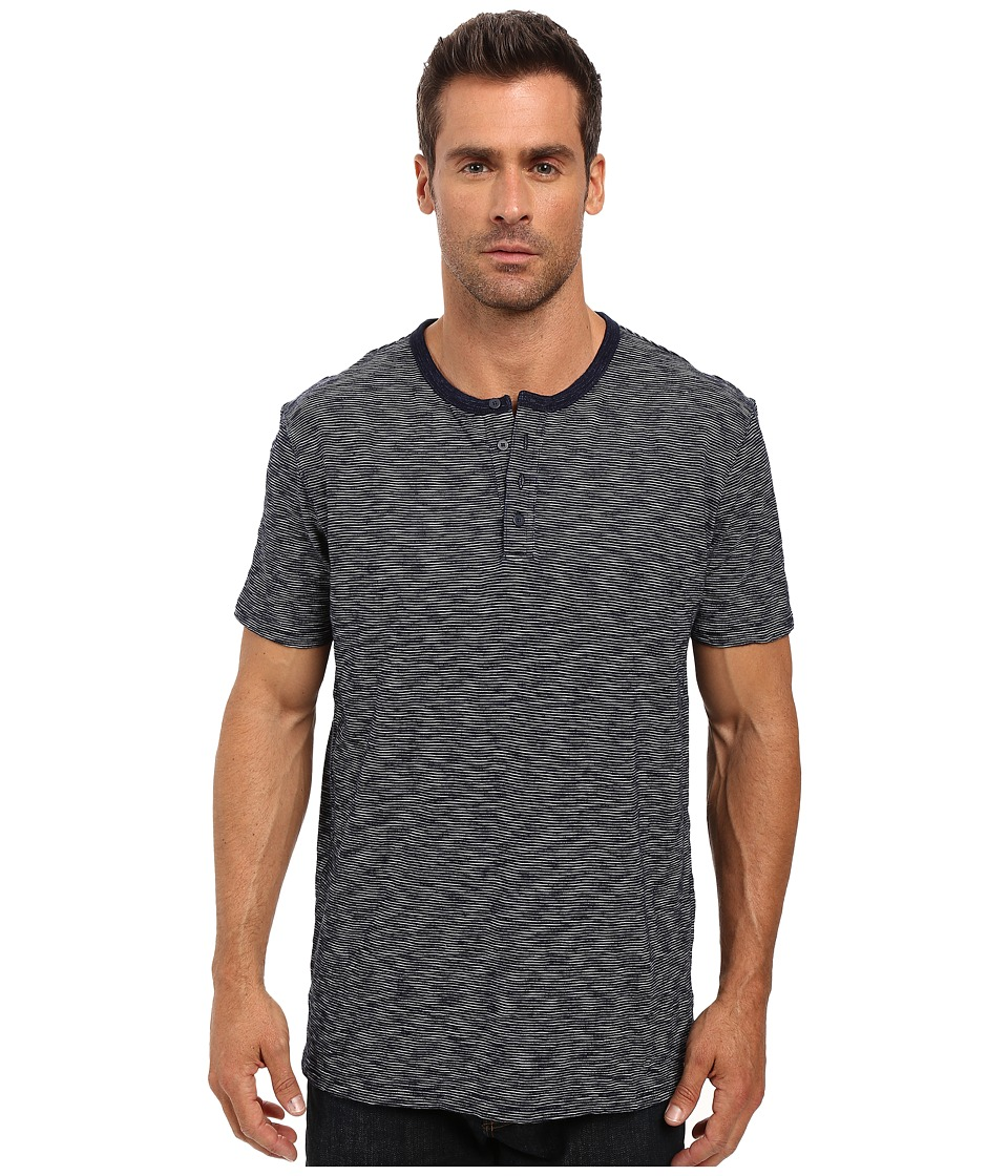 Lucky Brand Striped Short Sleeve Henley (Indigo) Men