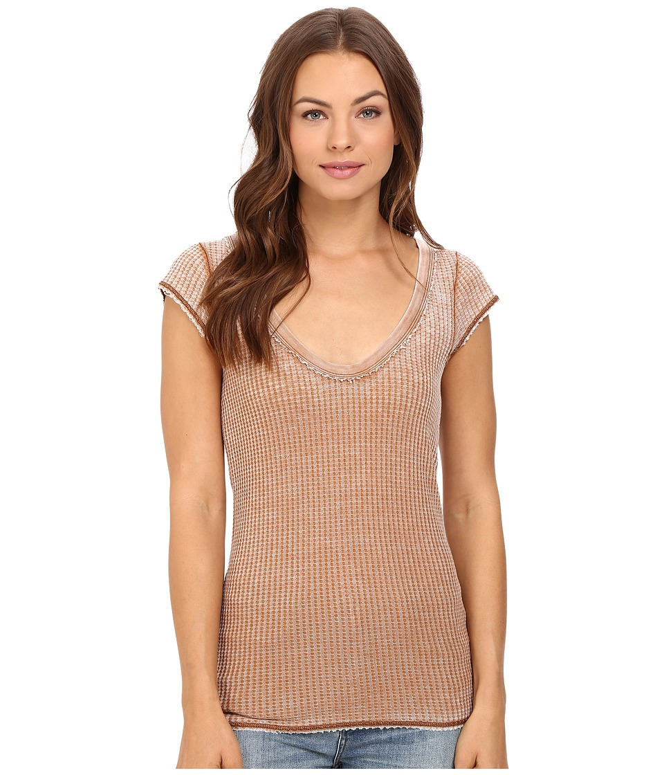 Free People - Arthur Waffle Tee (Brown) Women's T Shirt