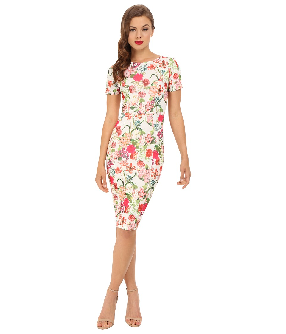 Unique Vintage - Short Sleeve Stretch Mod Wiggle Dress (White Floral) Women's Dress