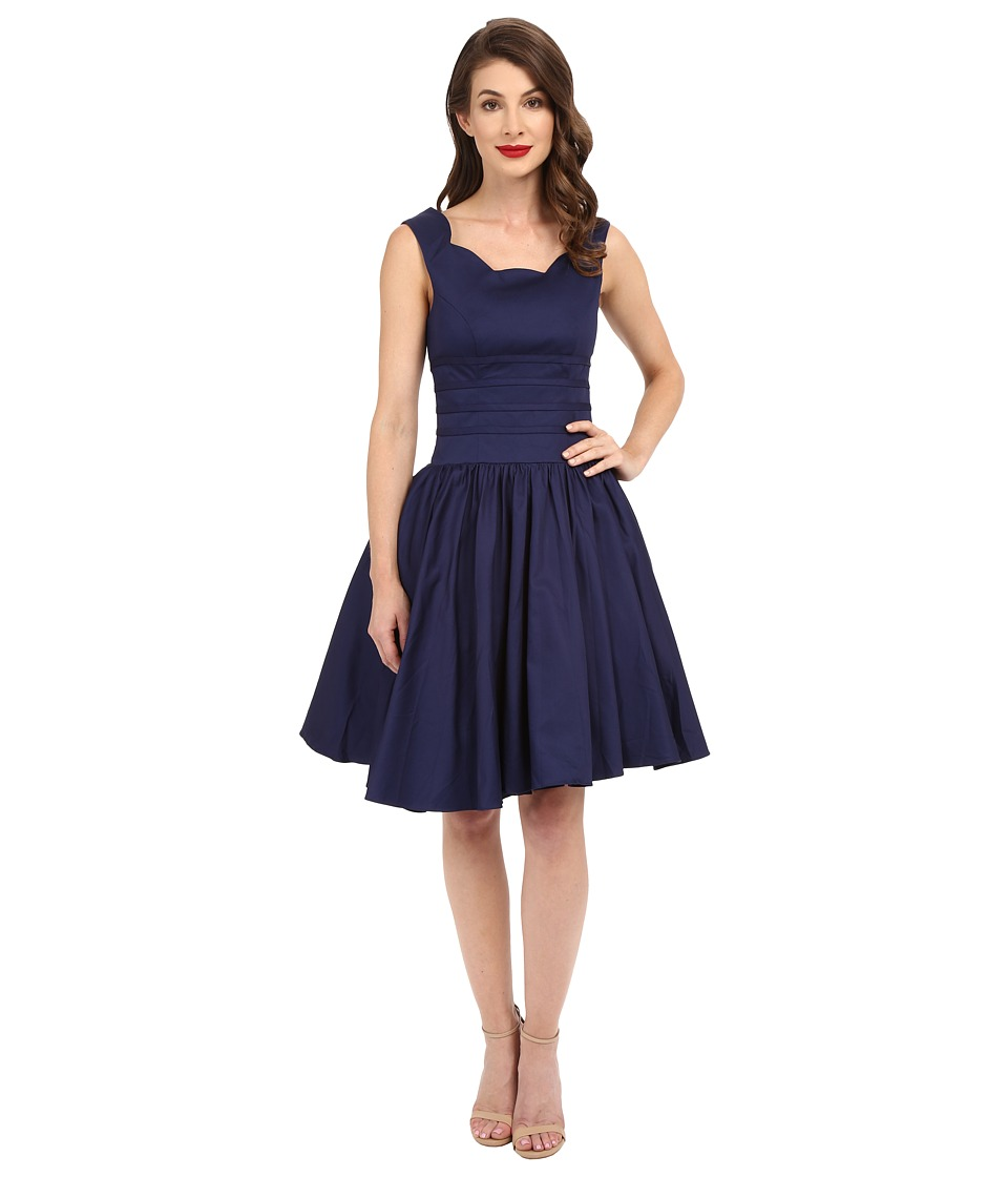 Unique Vintage - Roman Holiday Retro Flare Dress (Navy) Women's Dress