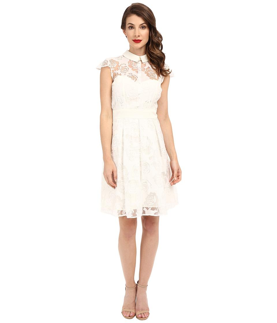 Unique Vintage - Rose Burnout Cap Sleeve Vera Flare Dress (White) Women's Dress