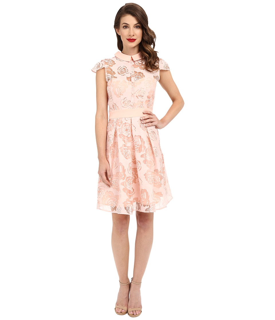 Unique Vintage - Rose Burnout Cap Sleeve Vera Flare Dress (Peach) Women's Dress