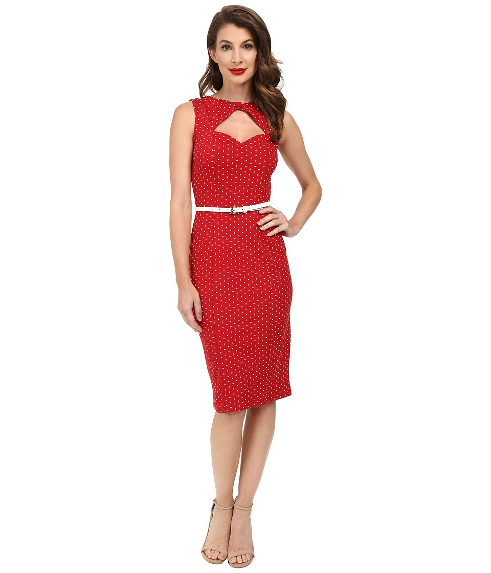 Unique Vintage - Magnolia Stretch Wiggle Dress (Red Dot) Women's Dress