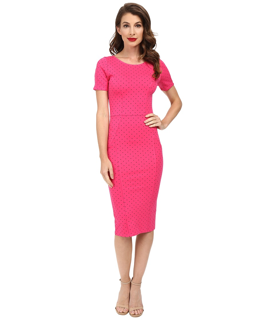 Unique Vintage - Short Sleeve Stretch Mod Wiggle Dress (Pink Dot) Women's Dress plus size,  plus size fashion plus size appare