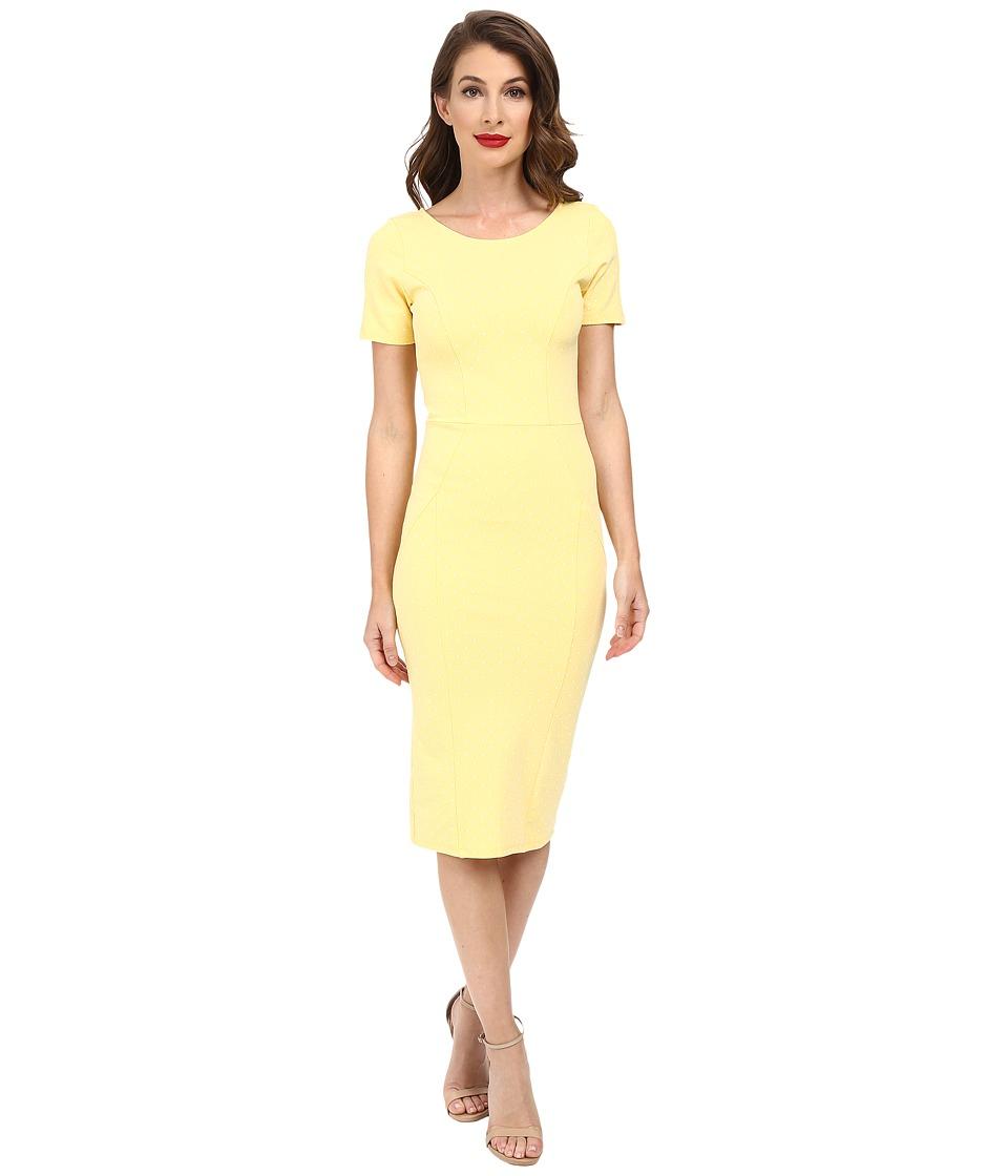 Unique Vintage - Short Sleeve Stretch Mod Wiggle Dress (Yellow Dot) Women's Dress