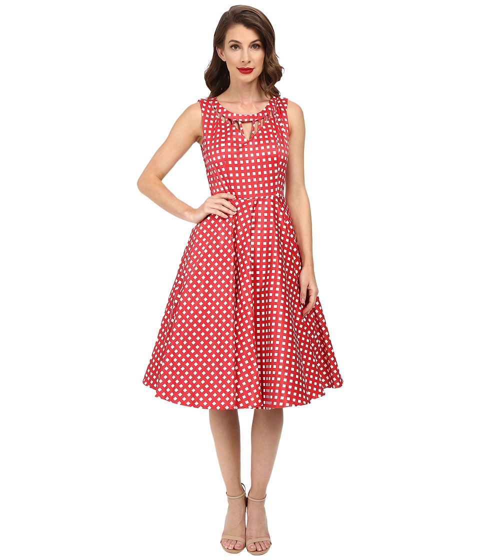 Unique Vintage - Checked Cut Out Sateen Swing Dress (Red/White) Women's Dress