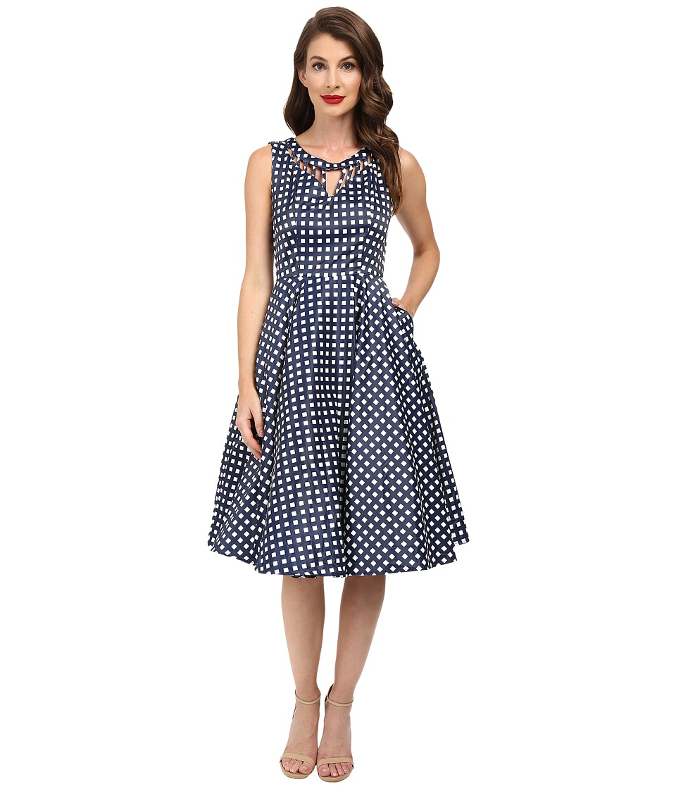 Unique Vintage - Checked Cut Out Sateen Swing Dress (Navy/White) Women's Dress