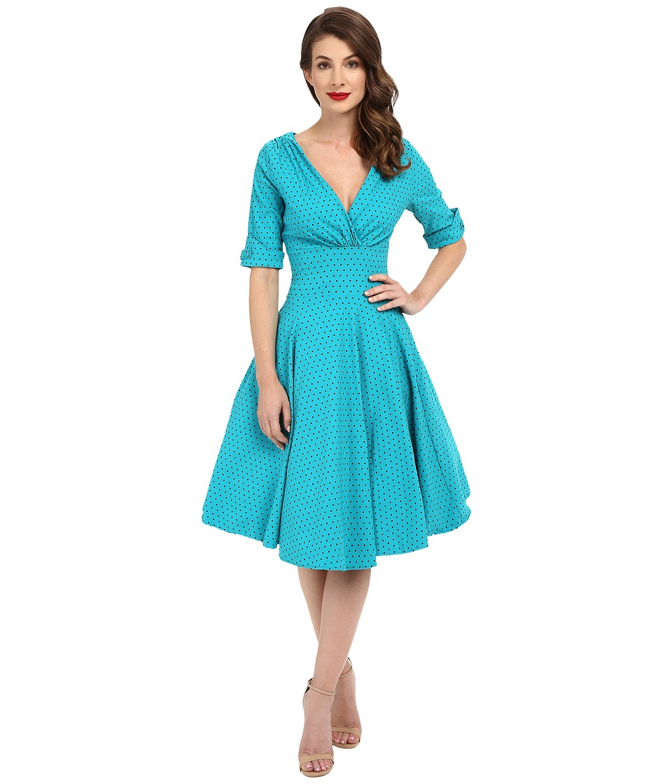 Unique Vintage - Delores Sleeved Swing Dress (Teal Dot) Women's Dress