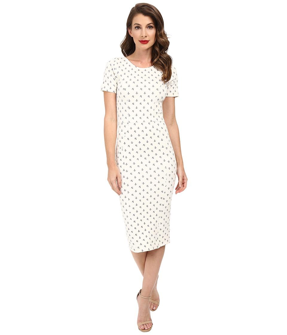 Unique Vintage - Short Sleeve Stretch Mod Wiggle Dress (White Anchor) Women's Dress