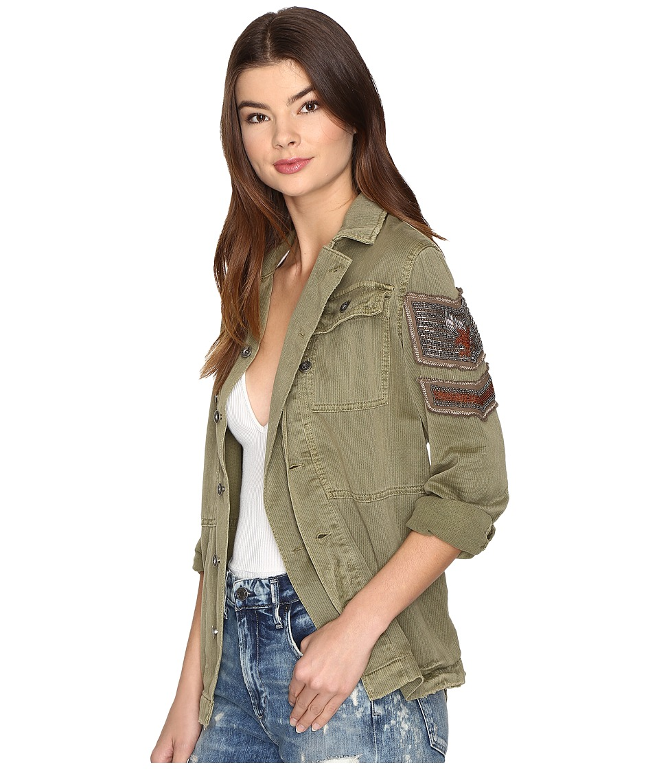 Free People - Embellished Military Jacket (Olive) Women's Coat