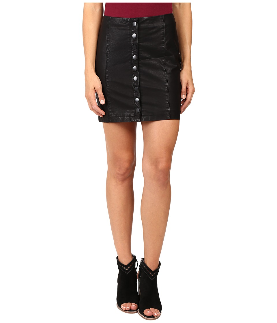 Free People - Oh Snap Mini Vegan Leather Skirt (Black) Women's Skirt