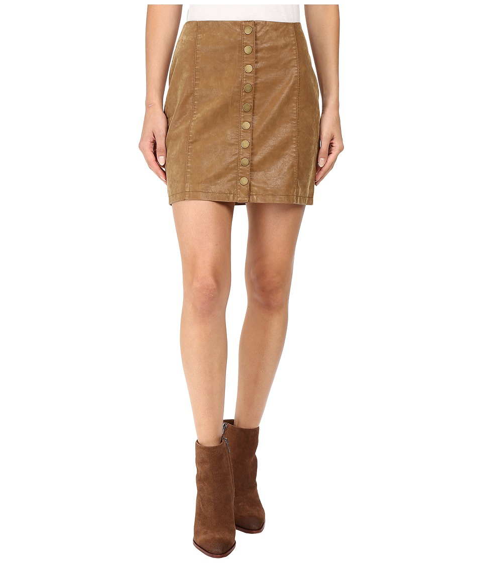 Free People - Oh Snap Mini Vegan Suede Skirt (Brown) Women's Skirt
