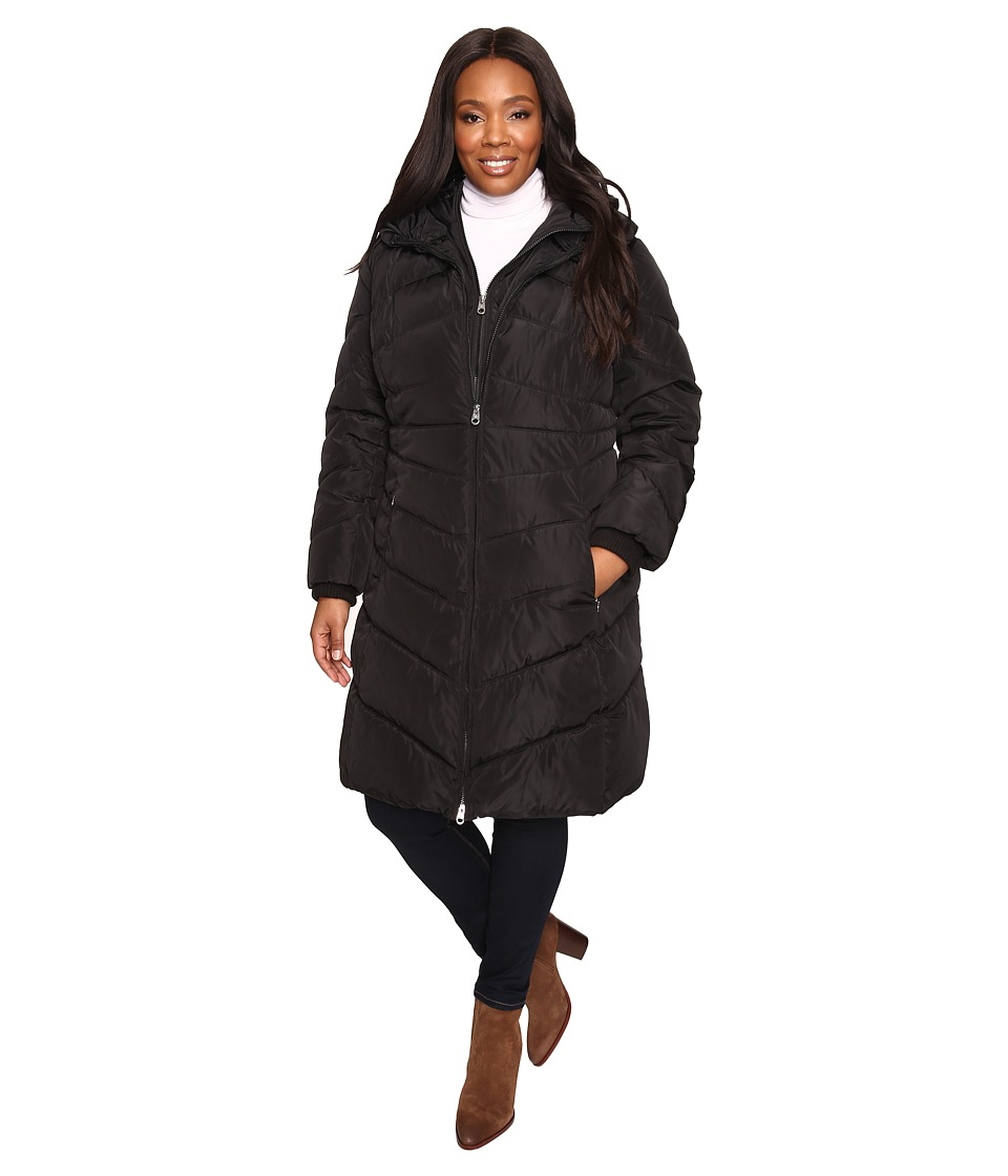 Jessica Simpson - Plus Size Chevron Quilted Poly Down Coat with Hood (Black) Women's Coat