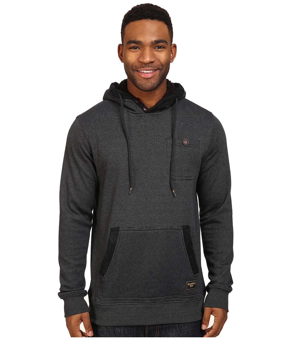Billabong - Rasta Cable Sherpa Lined Hoodie (Black Heather) Men's Sweatshirt