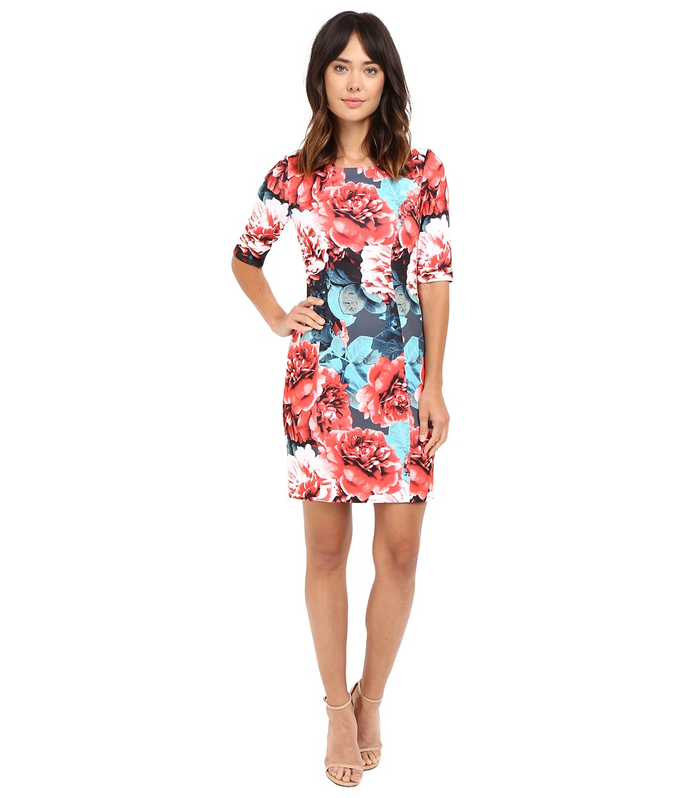 Tahari by ASL - Rose Print Sheath Square Neck Dress (Robins Egg/Crimson) Women's Dress