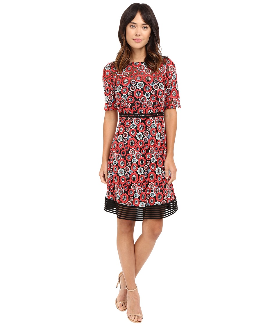 Tahari by ASL Novelty Embroidery Lace Dress (Robins Egg/Crimson) Women