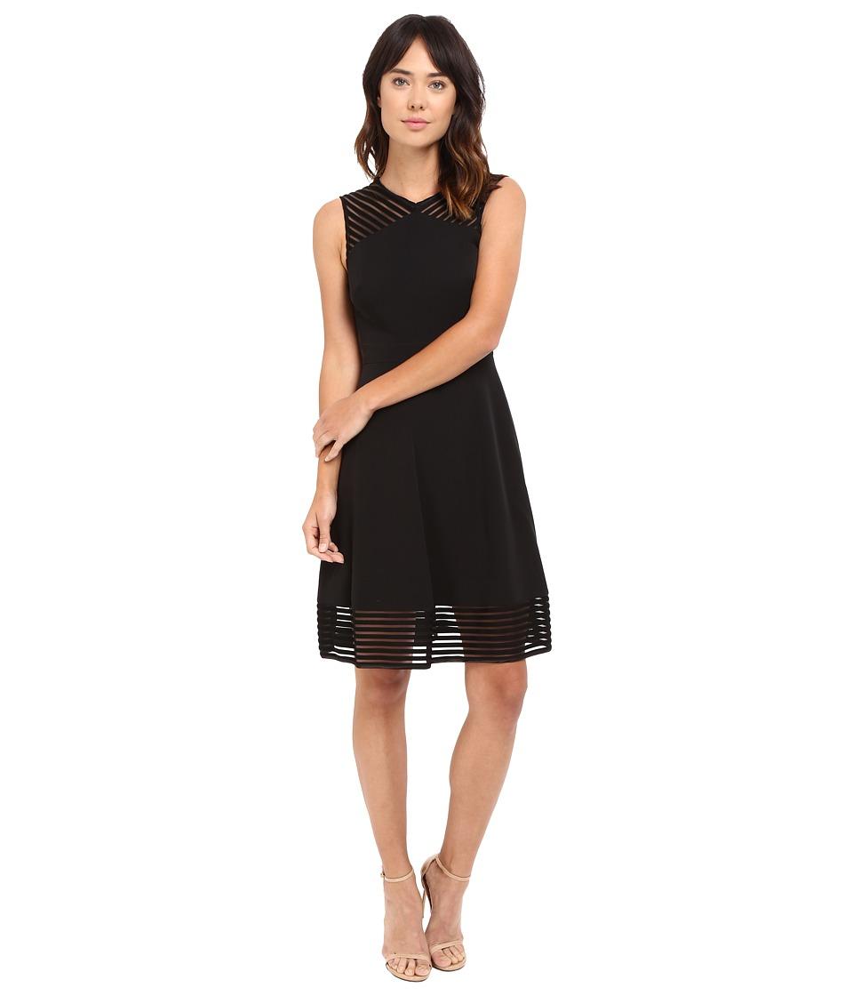 Tahari by ASL Fit and Flare Dress w/ Sheer Stripe Trim (Black) Women