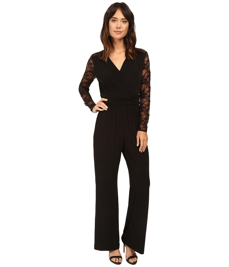 Tahari by ASL - Lace Sleeve Jumpsuit (Black) Women's Jumpsuit & Rompers One Piece