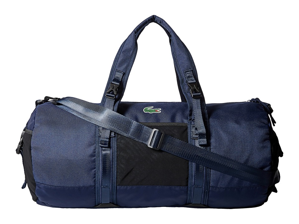 Lacoste Match Point Nylon Duffel Bag (Peacoat) Duffel Bags