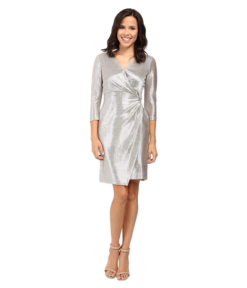 Tahari by ASL Foil Knit Side Knot Dress (Silver Powder) Women