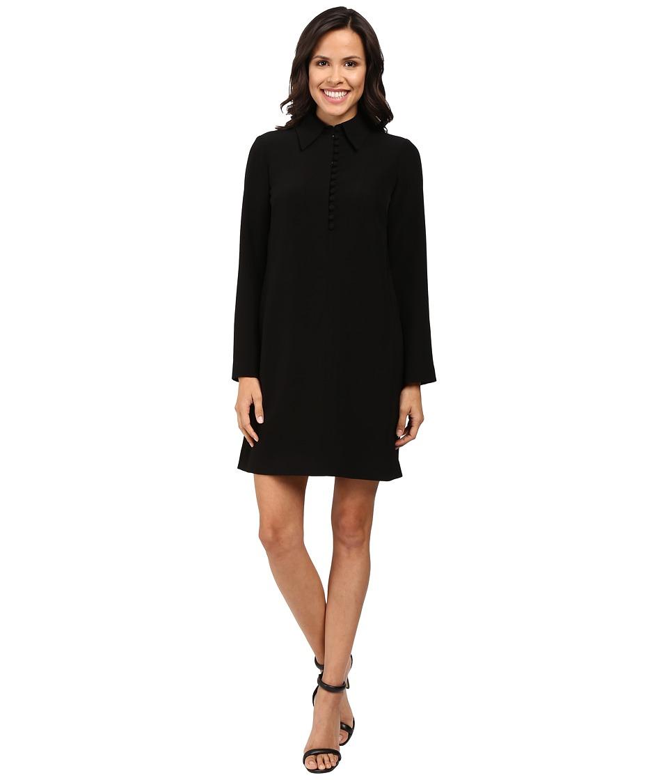 Tahari by ASL - Trumpet Sleeve Collared Shift Dress (Black) Women's Dress