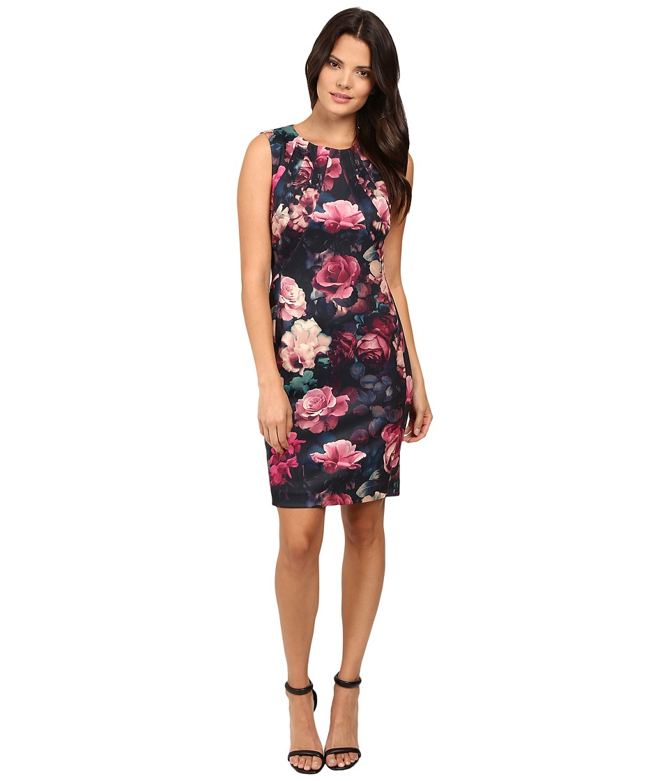 Tahari by ASL - All Over Rose Print Sheath Dress (Black/Rose/Ecru) Women's Dress