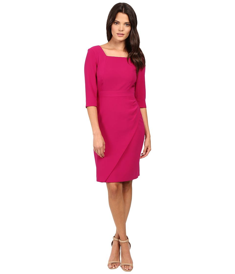 Tahari by ASL - Square Neck 3/4 Sleeve Sheath Dress with Skirt Details (Magenta) Women's Dress