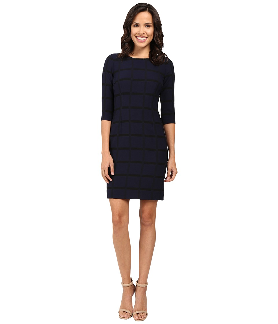 Tahari by ASL - Novelty Stripe 3/4 Sleeve Sheath Dress (Navy/Black) Women's Dress