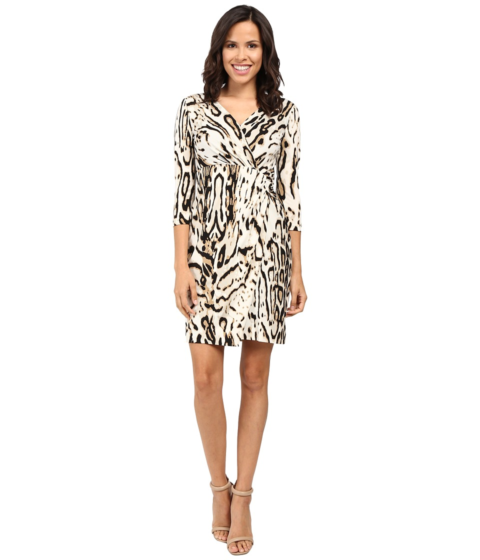 Tahari by ASL - 3/4 Sleeve Cheetah Faux Wap Dress (Sand/Black) Women's Dress