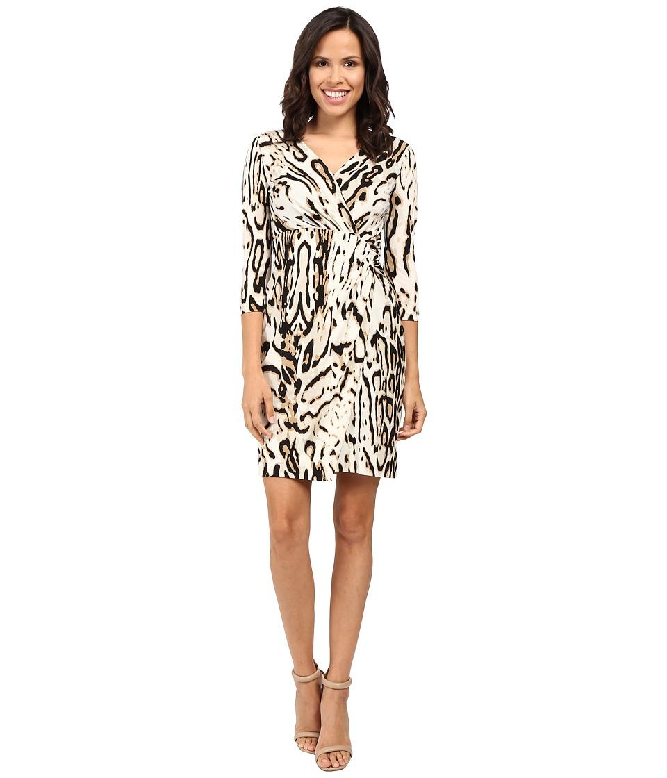 Tahari by ASL 3/4 Sleeve Cheetah Faux Wap Dress (Sand/Black) Women