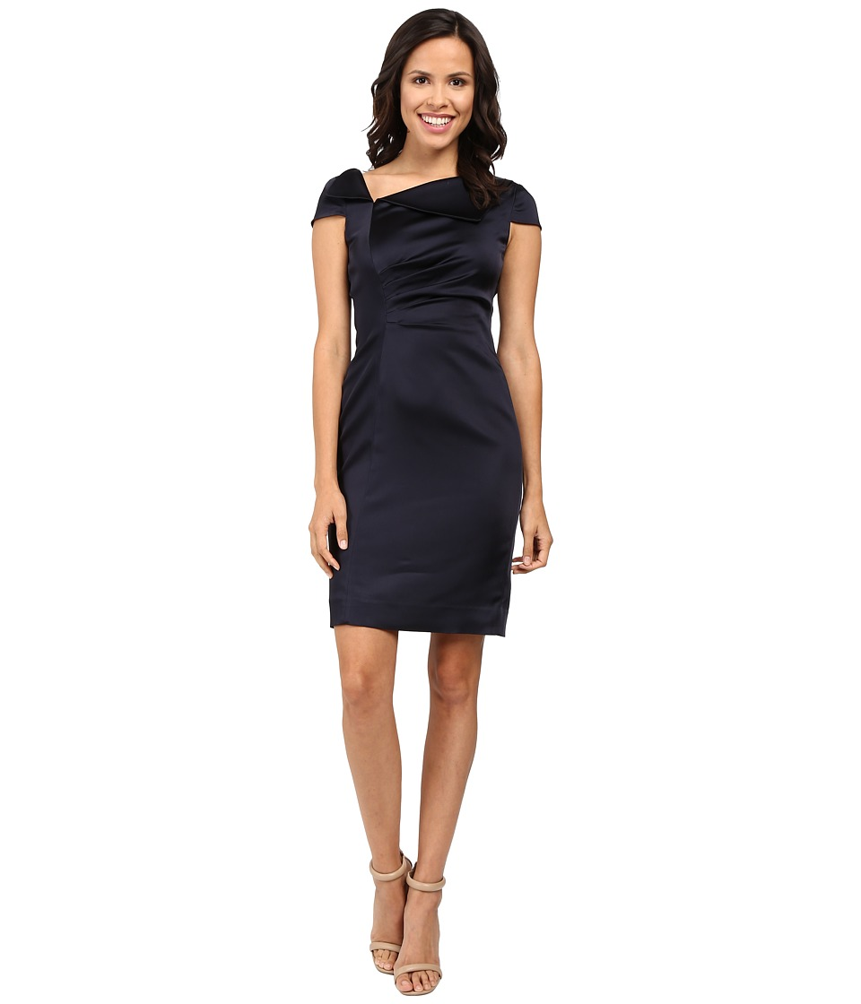 Tahari by ASL Fold-Over Collar Side Ruched Dress (Navy) Women