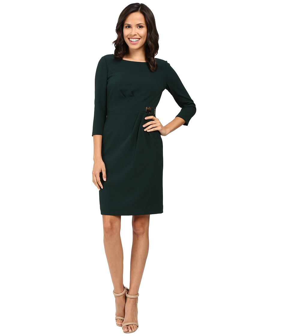 Tahari by ASL - Side Wrap 3/4 Sheath Dress with Gold Hardware (Deep Mallard) Women's Dress