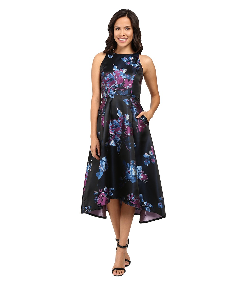 Tahari by ASL - Tea Length Jacquard Dress (Navy/Currant/Sky) Women's Dress