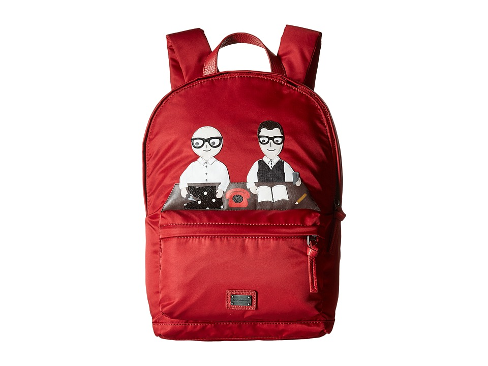 Dolce & Gabbana Kids - Patch Designers Nylon Backpack (Red) Backpack Bags