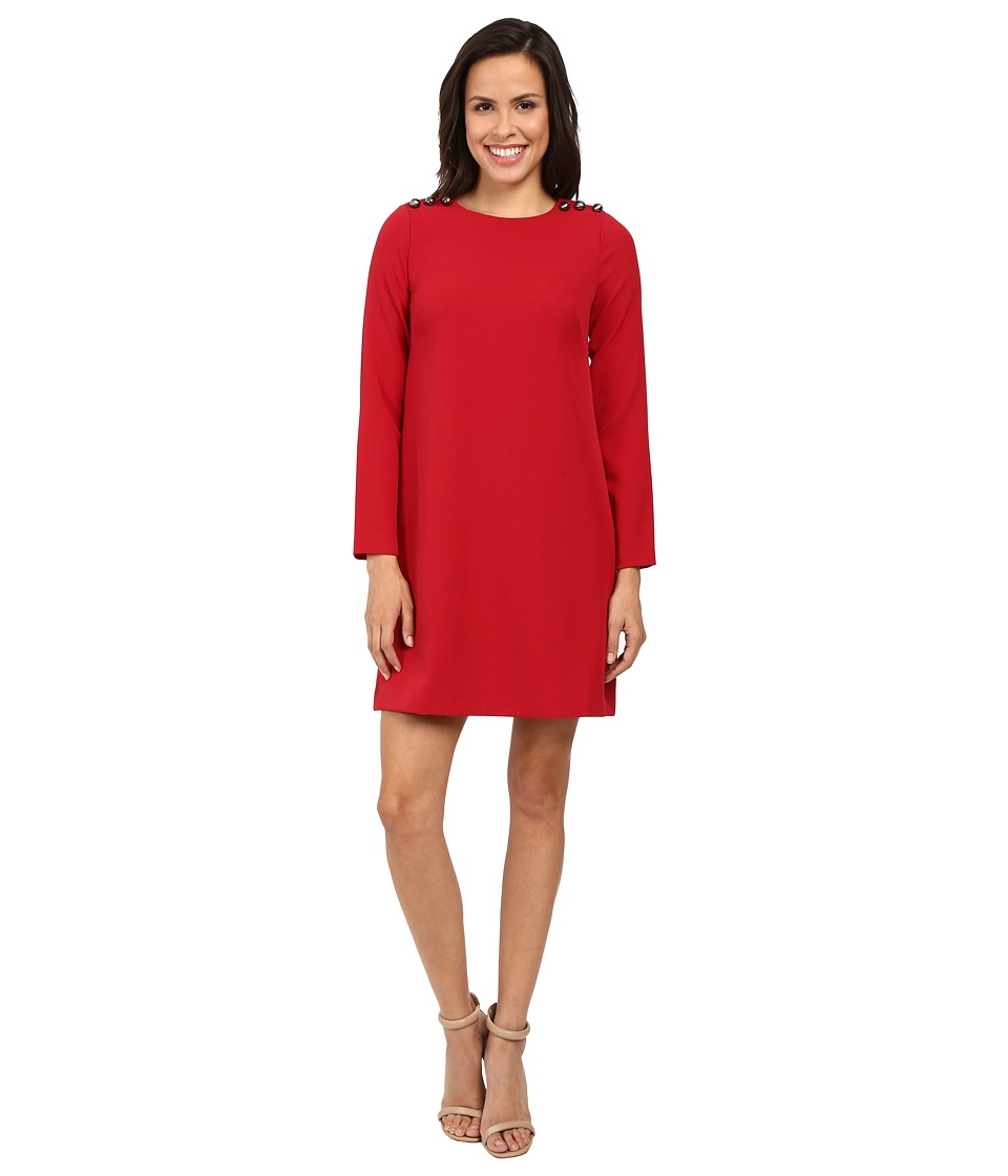 Adrianna Papell - Long Sleeve Shift Dress with Button Close Detail (Matador Red) Women's Dress
