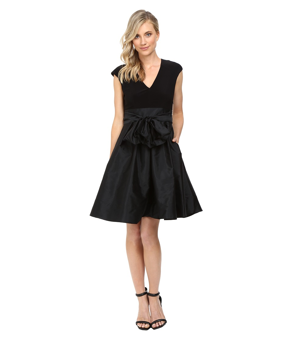 Adrianna Papell Taffeta Fit and Flare V-Neck Dress