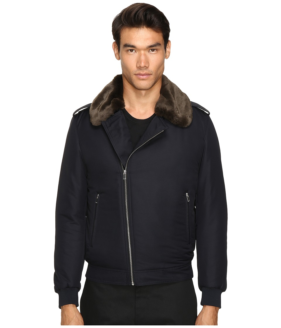 The Kooples - Technical Taffetas Biker Jacket (Navy) Men's Coat