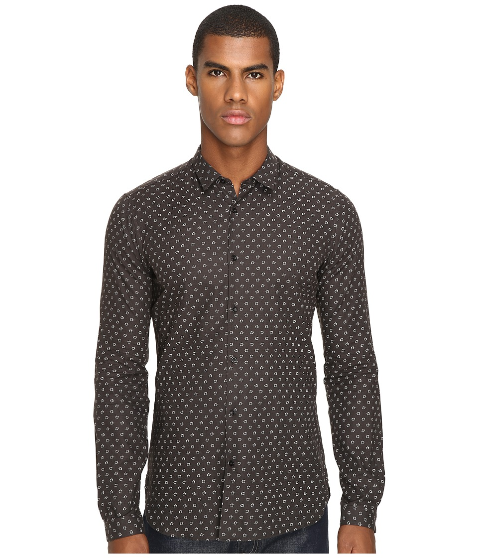 The Kooples - Fitted Fancy Dandelion Shirt (Khaki) Men's Long Sleeve Button Up
