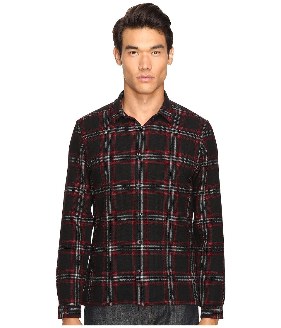 The Kooples - Heavy Seersucker Checks Shirt (Red) Men's Long Sleeve Button Up