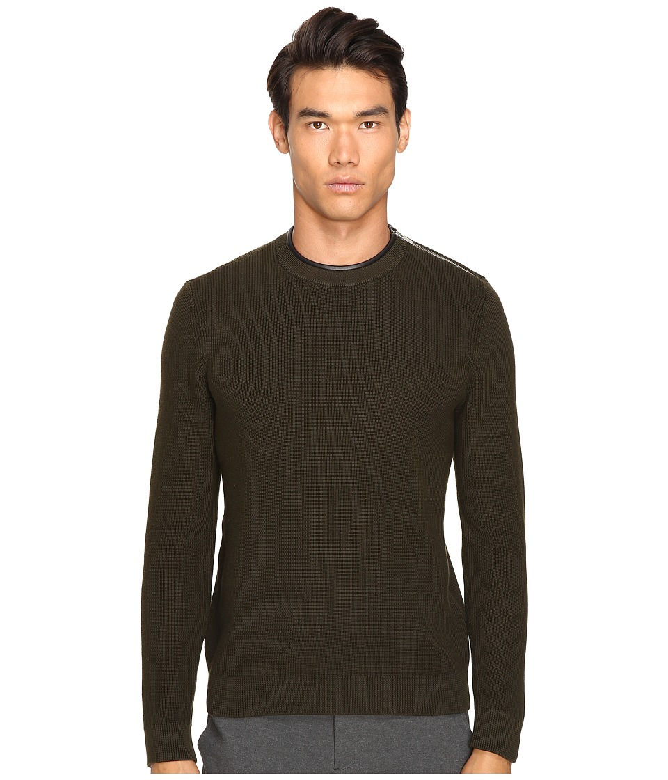 The Kooples - Mercerized Cotton Leather Sweater (Khaki) Men's Sweater