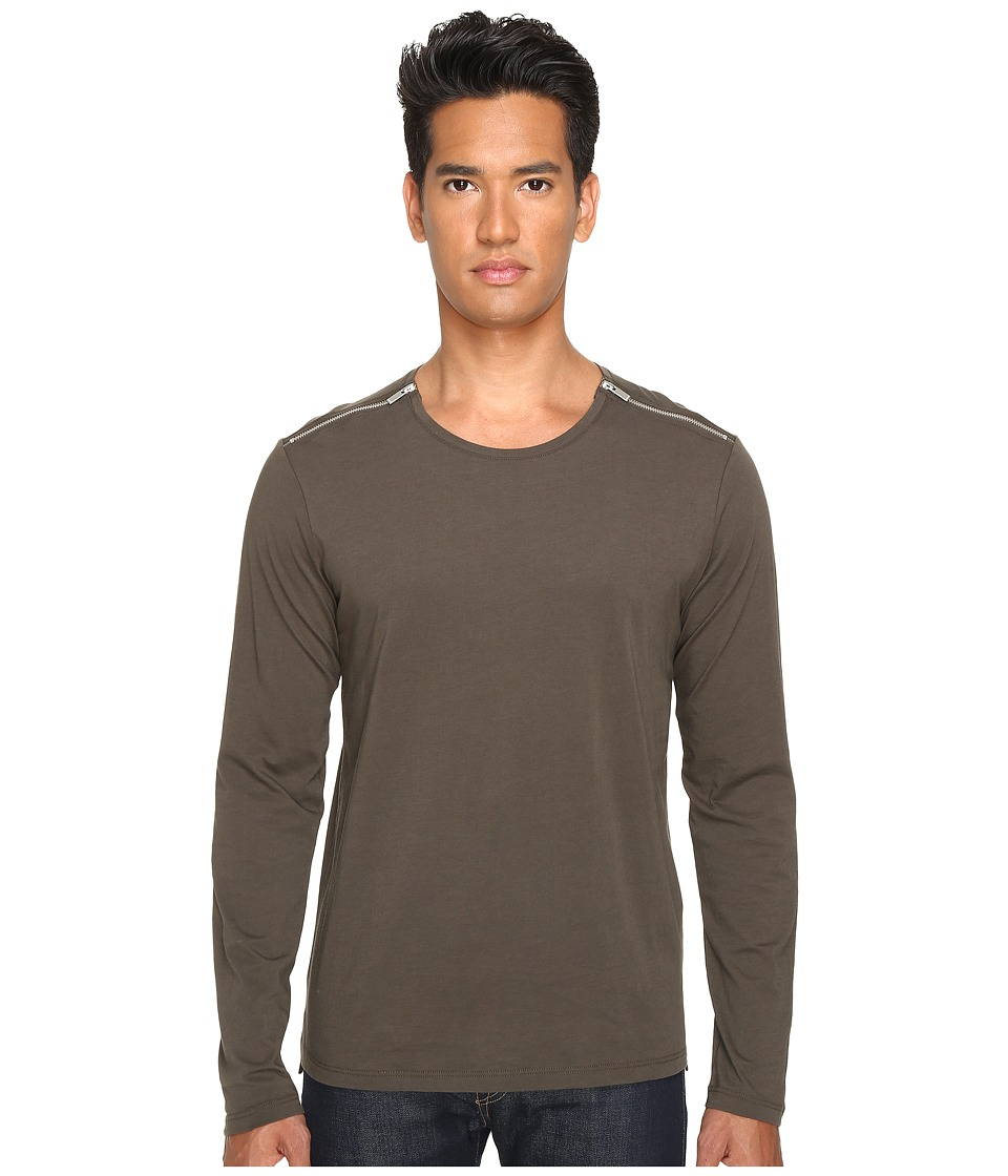 The Kooples - Light Basic Cotton Zip Shirt (Khaki) Men's T Shirt