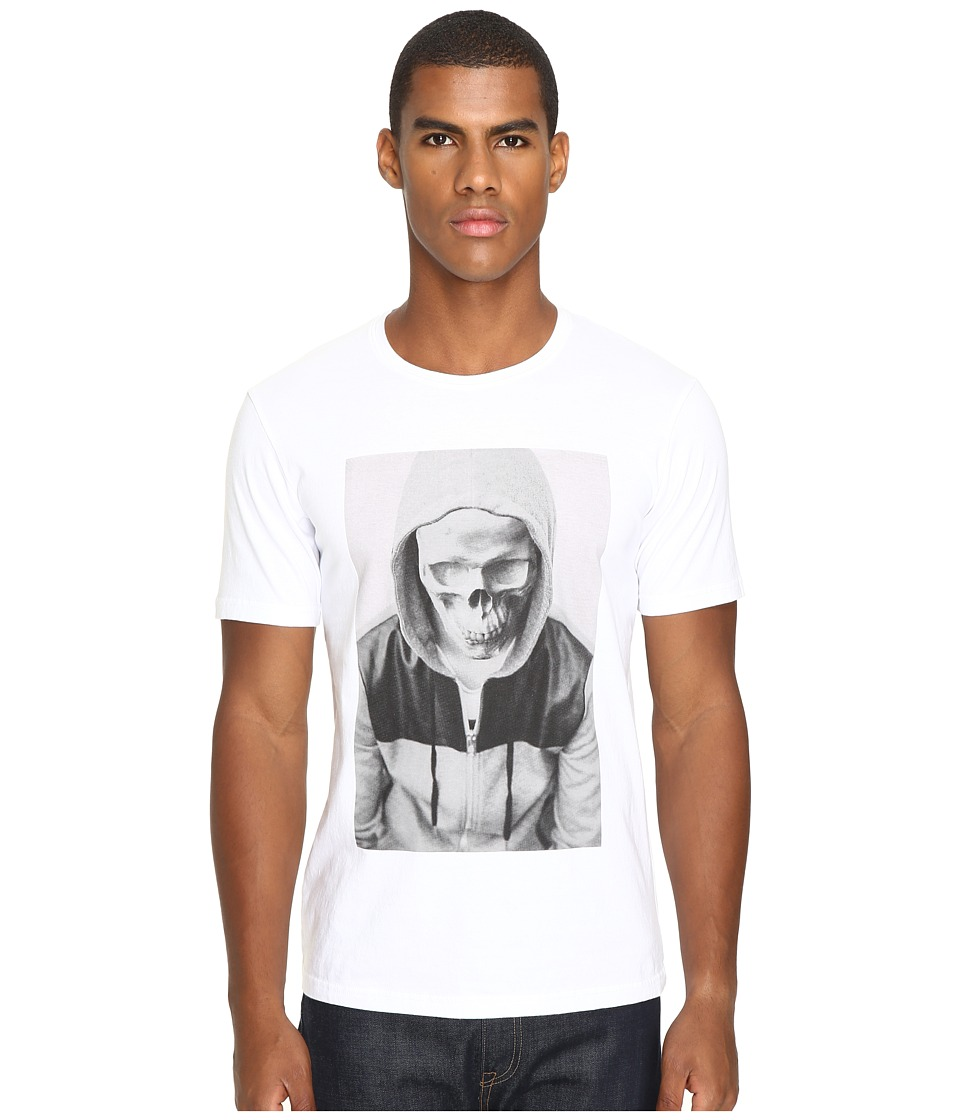The Kooples - Sport Hooded Skull Print T-Shirt (White) Men's T Shirt