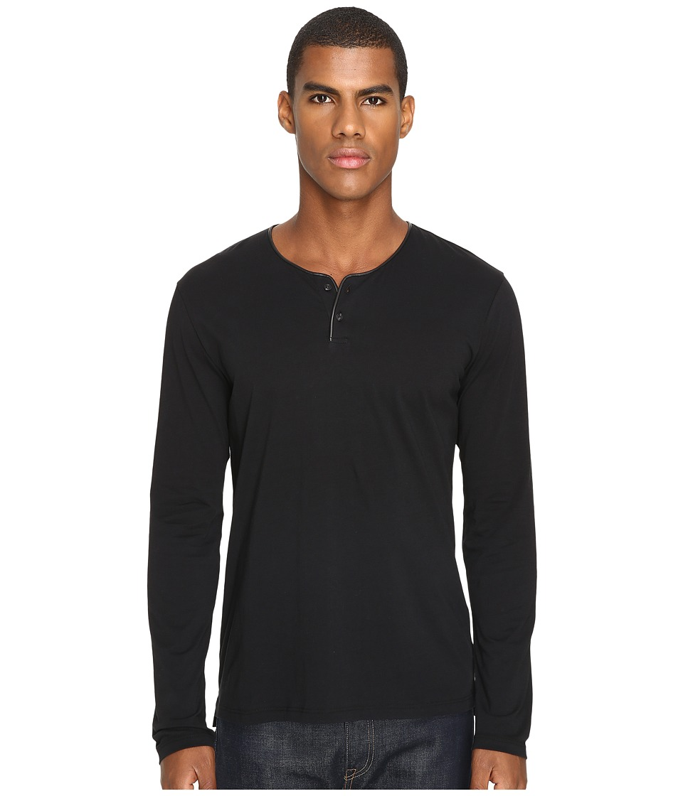The Kooples - Light Cotton and Washable Leather Henley (Black) Men's Long Sleeve Pullover