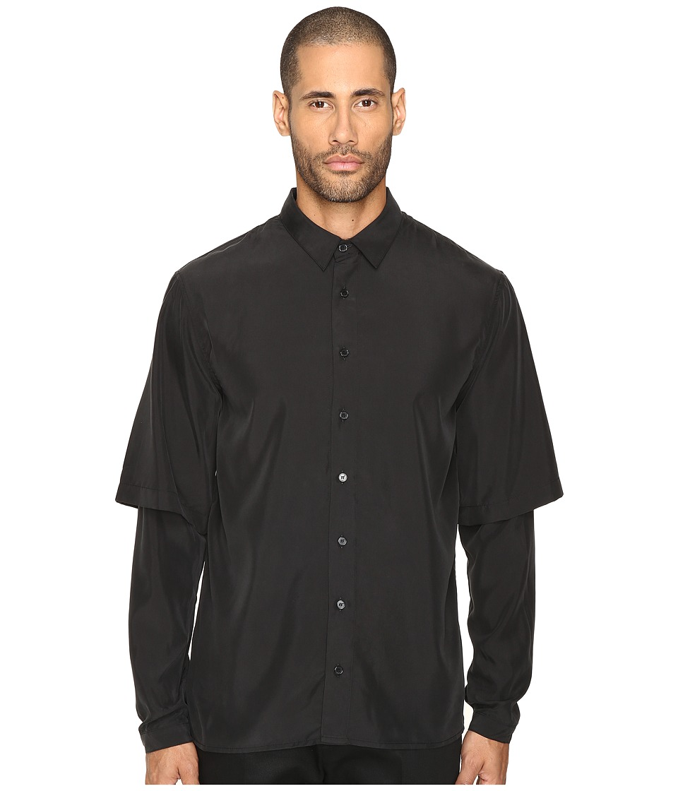 DBYD - Embroidered Back Layered Shirt (Black) Men's Clothing