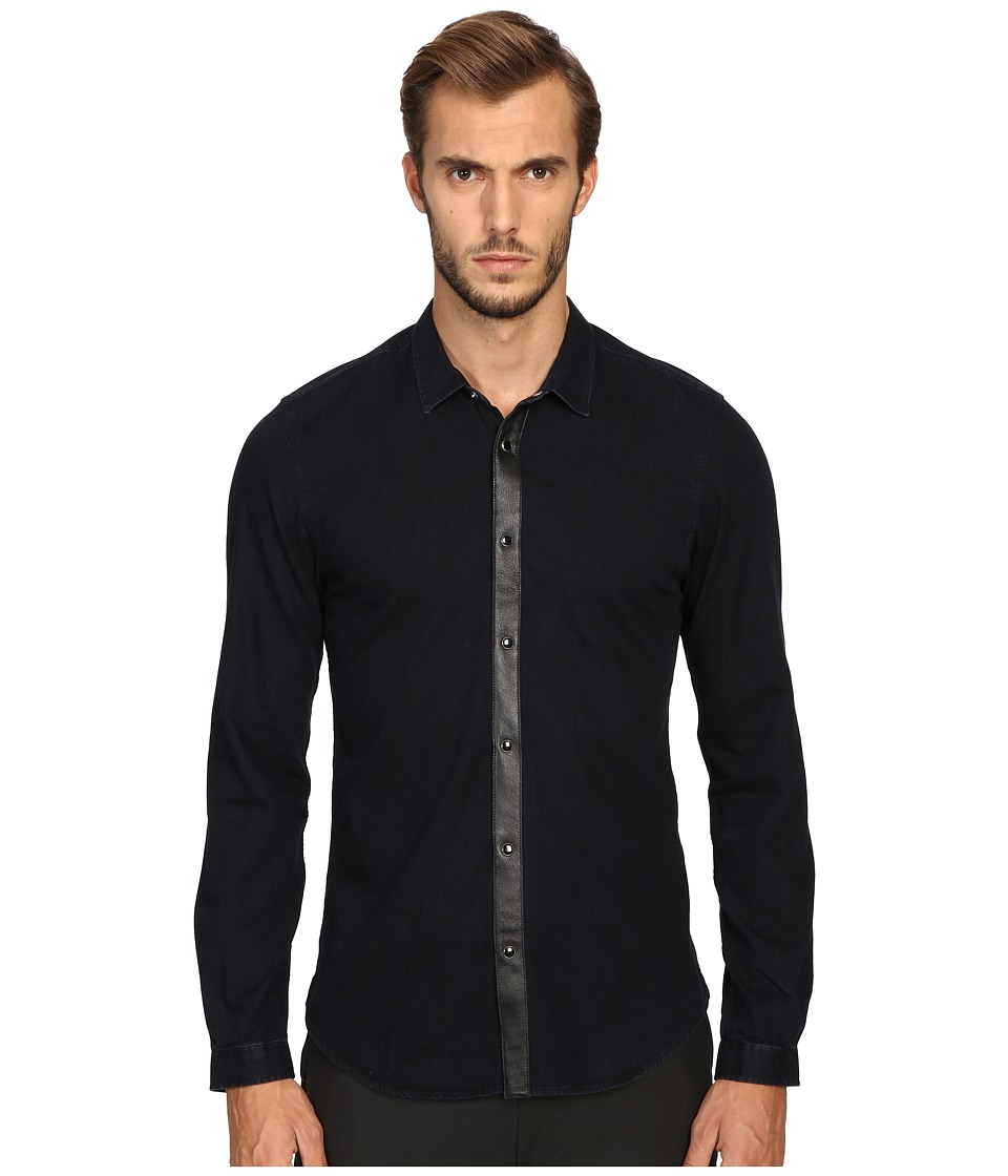 The Kooples - Fantasy Placket Button Up (Blue) Men's Clothing
