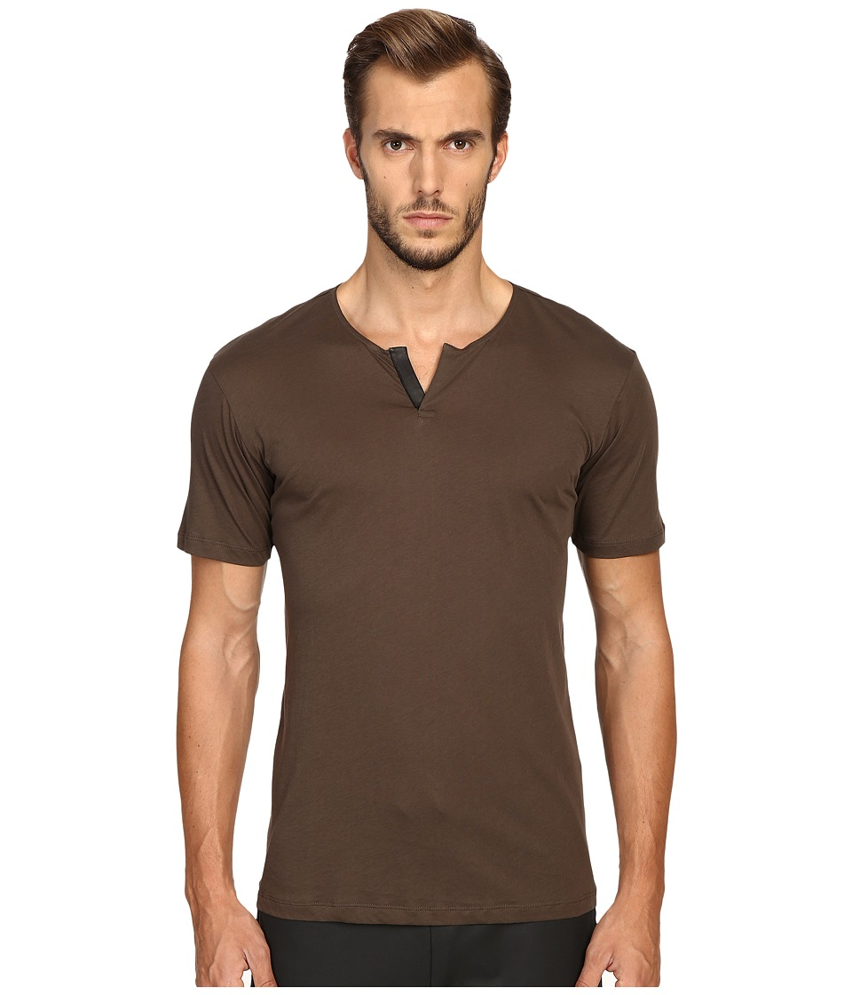 The Kooples - Cotton Leather T-Shirt (Khaki) Men's T Shirt