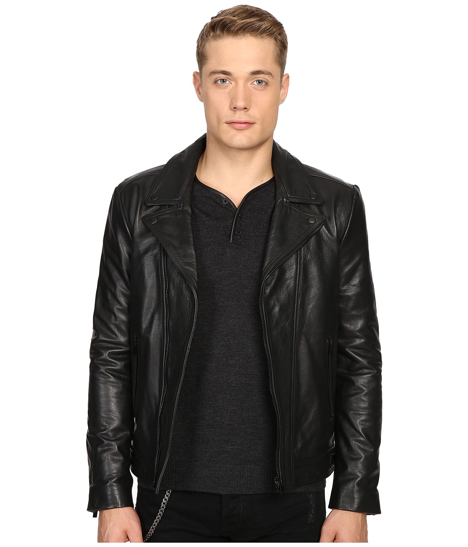 The Kooples - Faded Leather Motorcycle Jacket (Black) Men's Coat