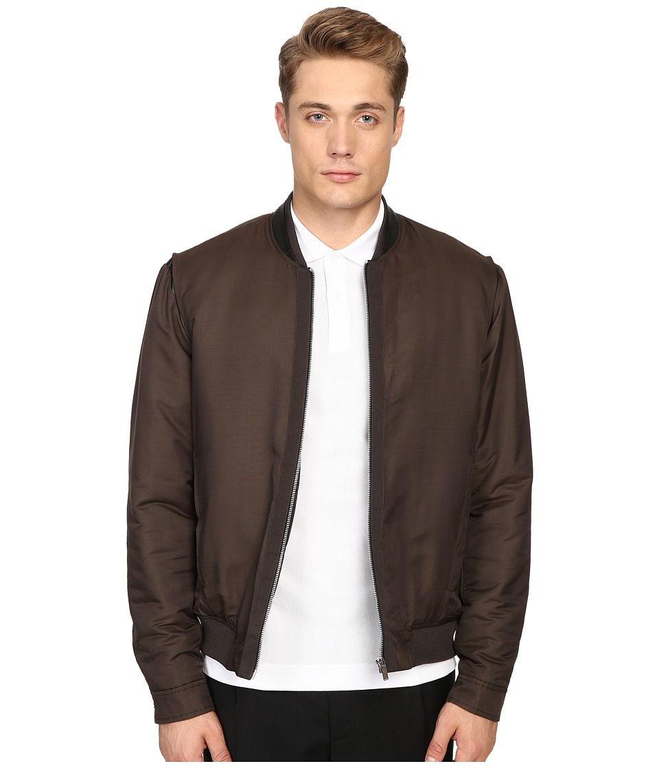 The Kooples - Grosgrain Placket Bomber Jacket (Khaki) Men's Coat